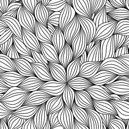 black and white flowers: Abstract seamless pattern Illustration