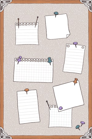 pin board: Hand drawn pin board with empty paper notes Illustration