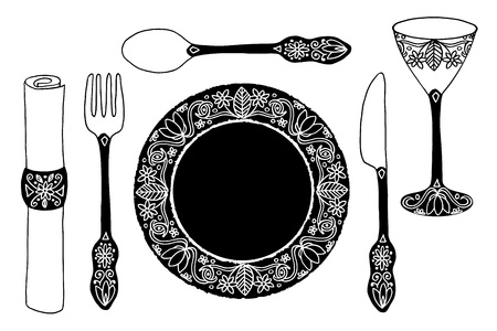 silver cutlery: Hand drawn plate, cutlery, napkin and drinking glass Illustration