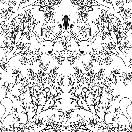 victorian pattern: Hand drawn seamless pattern with deer and squirrel, black and white