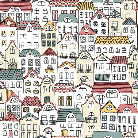 Hand drawn seamless pattern of a city with cute houses
