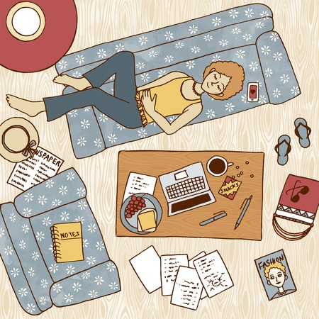 taking notes: Top view illustration of a girl taking a nap on the couch, with laptop and notes next to her on the coffee table