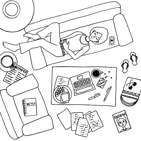 Vista superior de ilustración de una chica que toma una siesta en el sofá, con ordenador portátil y notas a su lado en la mesa de café