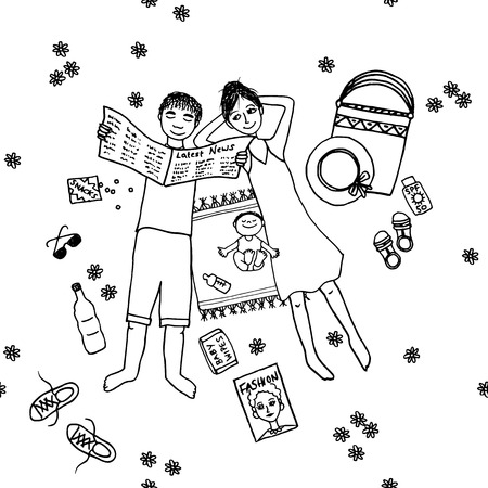 lying in: Cute hand drawn couple lying in the park with their little baby, black and white illustration Illustration