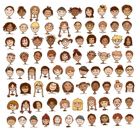 mixed family: Collection of colorful hand drawn kids faces Illustration