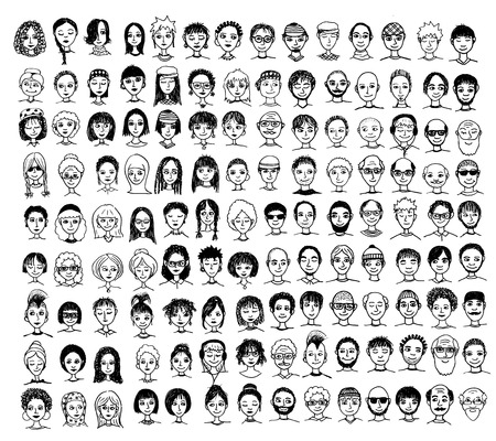 Collection of cute and diverse hand drawn faces in black and white