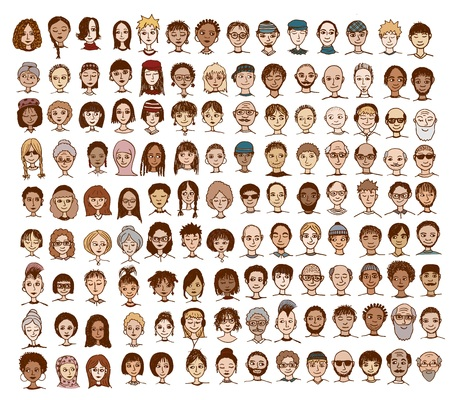 mixed family: Collection of cute and diverse hand drawn faces Illustration