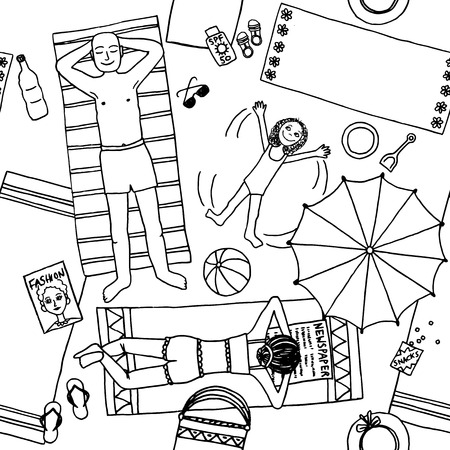 sunscreen: Hand drawn illustration of a family with daughter lying at the beach, top view Illustration