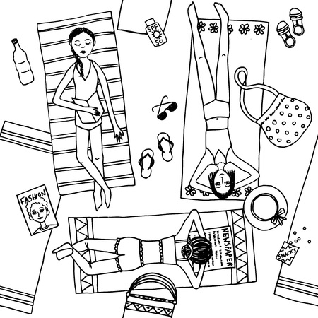 chilling: Hand drawn black and white illustration of girls chilling at the beach