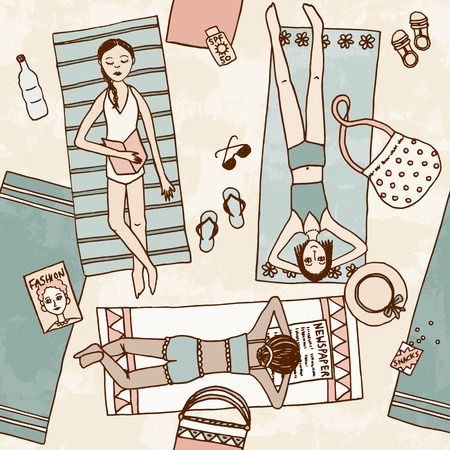 sleeping bag: Hand drawn seamless pattern of girls chilling at the bea