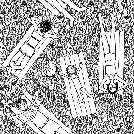 person reading: Seamless black and white pattern of people lying on air mattresses in the swimming pool Illustration
