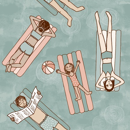 Seamless pattern of people lying on air mattresses in the swimming pool