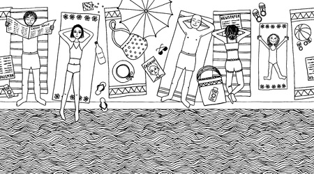 children book: Seamless banner of people lying at the pool