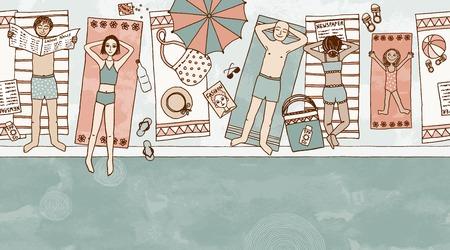 Naadloze banner van mensen liggen bij het zwembad Stock Illustratie