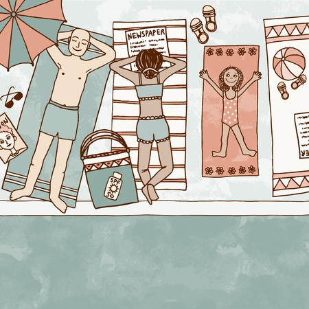 Hand drawn illustration of a family with daughter lying at the swimming pool, top view Vetores