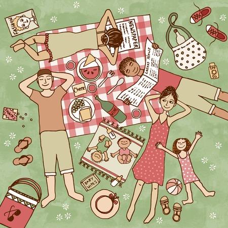 pareja comiendo: Vista superior de la ilustración de la gente con sus niños que tienen comida campestre en el parque