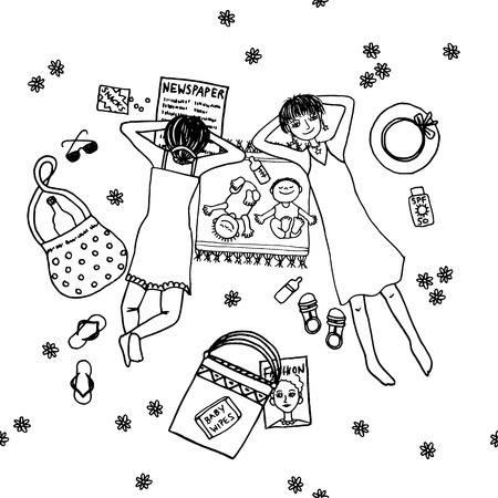 lying in: Two moms lying in the park with their little babies, top view black and white illustration