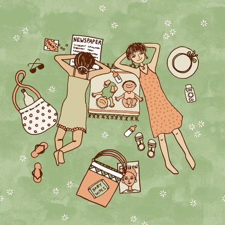 Twee moeders die in het park met hun kleine baby's, bovenaanzicht Stock Illustratie