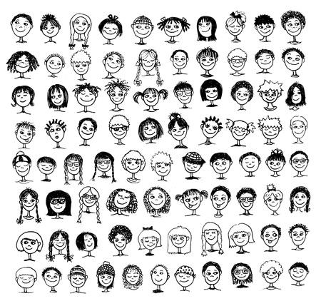 mucha gente: Colección de rostros dibujados a mano los niños en blanco y negro '