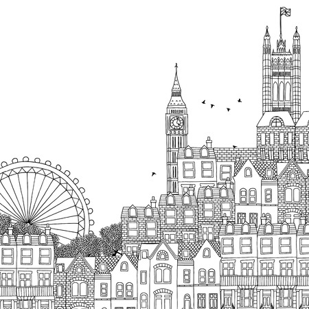 houses of parliament london: Hand drawn black and white illustration of London Illustration