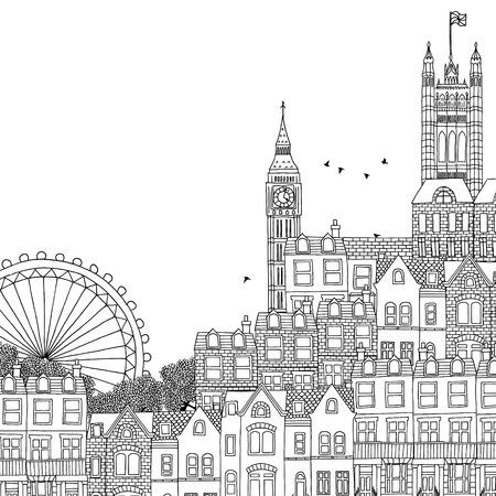 Hand drawn black and white illustration of London Vettoriali