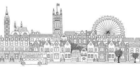 Seamless banner of London's skyline, hand drawn black and white illustration Çizim