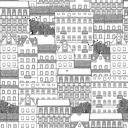 europeans: Hand drawn seamless pattern of German style houses Illustration