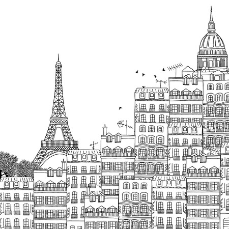 Hand drawn black and white illustration of Paris