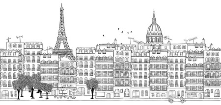 les: Seamless banner of Paris skyline, hand drawn black and white illustration