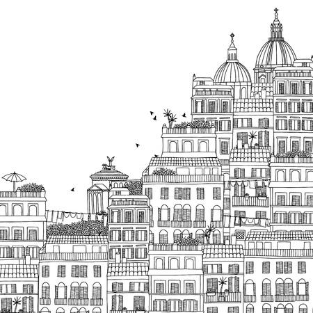 Hand getrokken zwart-wit illustratie van Rome