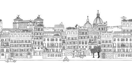 Bez szwu transparentu Rzymu panoramę, ręcznie rysowane czarno-białe ilustracji Ilustracje wektorowe