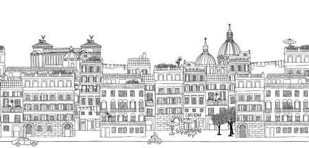 Seamless banner of Rome's skyline, hand drawn black and white illustration