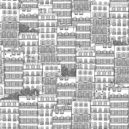 french style: Hand drawn seamless pattern of French style houses