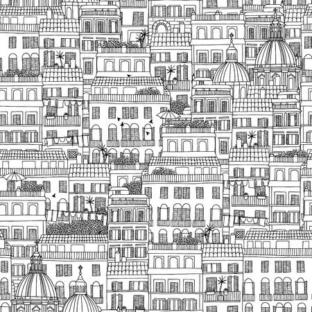 Hand getrokken naadloos patroon van de Italiaanse huizen Stock Illustratie