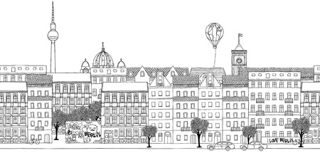 Seamless banner of Berlin's skyline, hand drawn black and white illustration Ilustração