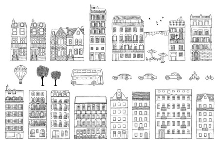 Collection of hand drawn European style houses Stok Fotoğraf - 55798425