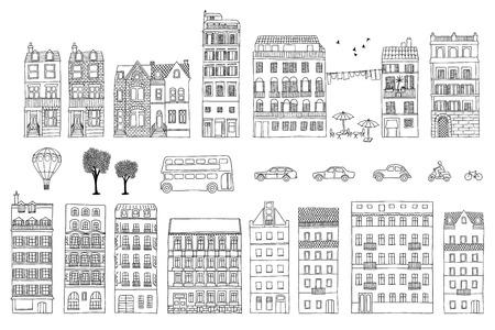 Verzameling van hand getrokken Europese stijl huizen