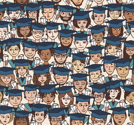 alumni: Hand drawn seamless pattern of a group of cartoon students with graduation caps and their degree in their hands