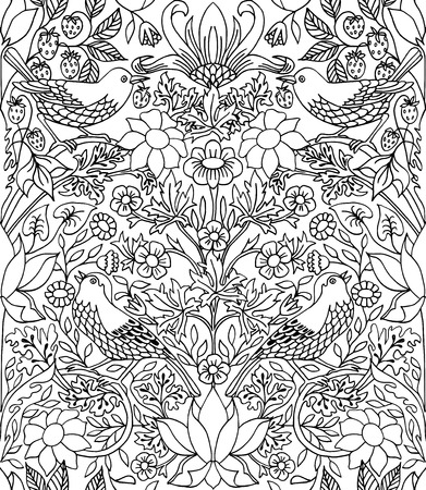 retro patterns: Strawberry thief - hand drawn seamless pattern, line drawing suitable for adult coloring books