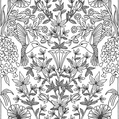 Hand getrokken naadloos zwart-wit patroon met kolibries en bloemen