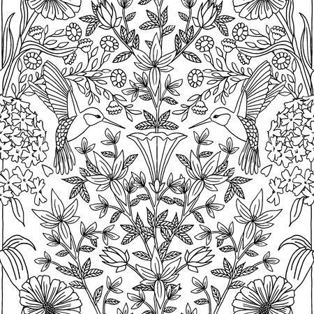 Hand drawn seamless black and white pattern with hummingbirds and flowers