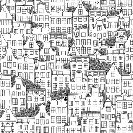 Hand drawn seamless pattern of Dutch style houses