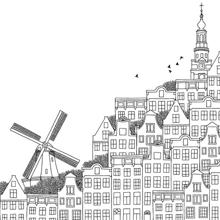 holland: Hand drawn black and white illustration of a Dutch city Illustration