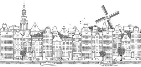 アムステルダムのスカイライン、手描き黒イラストのシームレスなバナー
