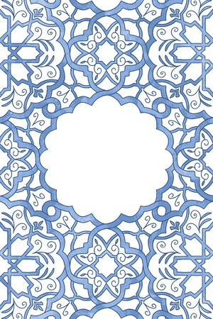 Greeting card template with arabesque watercolor pattern