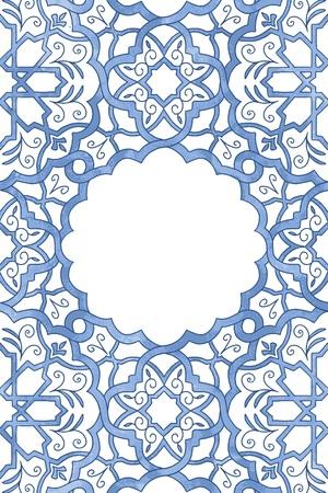 Wenskaartsjabloon met arabesk aquarel patroon