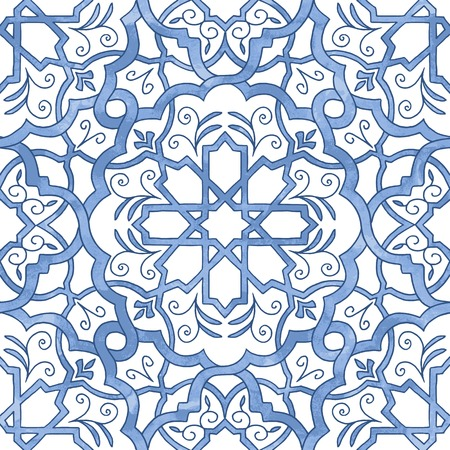 a tile: Hand drawn seamless line art pattern filled with blue watercolor