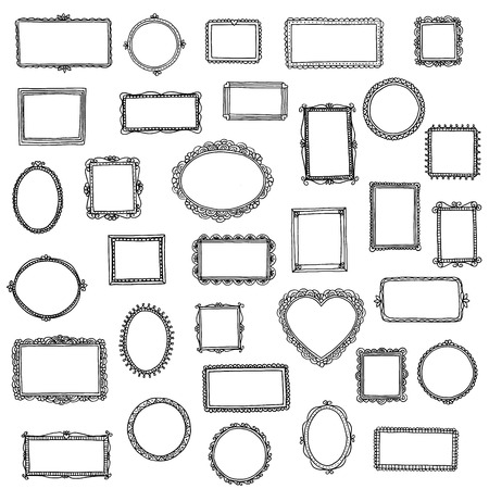 33 hand drawn doodle frames Stock Vector - 57591822