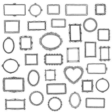 33 hand drawn doodle frames Illustration