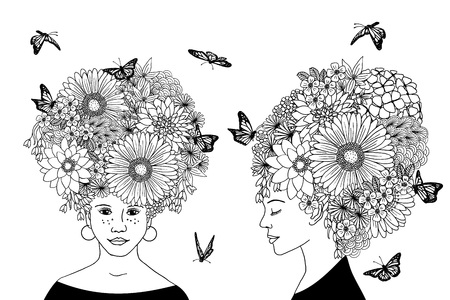 hair coloring: Hand drawn illustrations of two girls with flower hair
